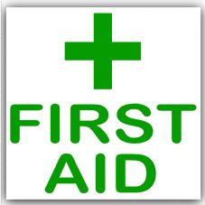 1 x First Aid-Green on White,External Self Adhesive Stickers-Medical,Health and Safety Signs